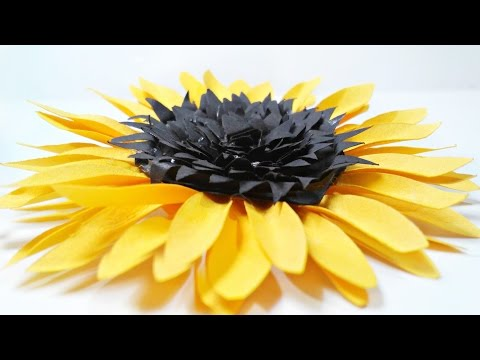 DIY paper Sunflower flower for wall backdrop decoration arts and crafts paper flowers easy for kids