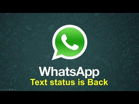 Whatsapp Text Status is Back