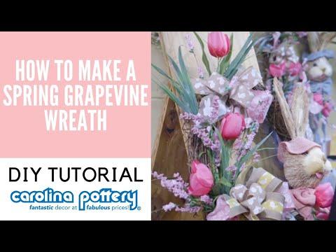 DIY Spring Grapevine Wreath Tutorial - Carolina Pottery