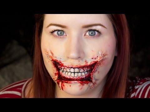 3d stretched lips halloween makeup tutorial - Christmas Elf Makeup