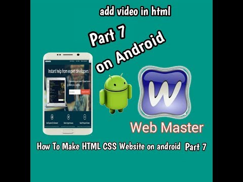 [How To make HTML CSS website on android part 7] Add video with HTML on android Device