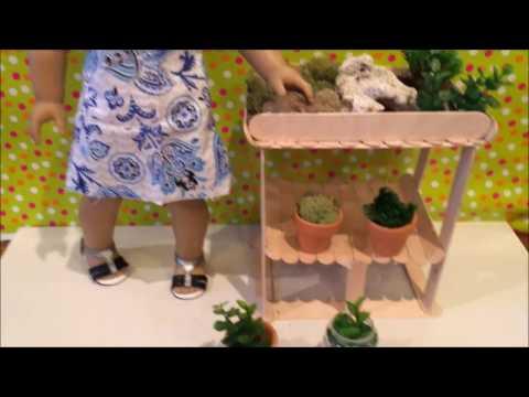 DIY AMERICAN GIRL DOLL. PLANTING TABLE & PLANTS.🍃🌿🍄