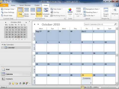 Outlook 2010 Change the Number of Days Displayed in the Calendar
