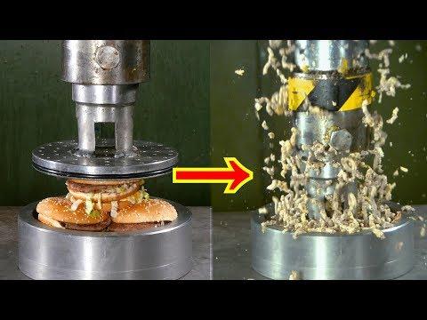 Crushing Hamburgers with Hydraulic Press   in 4K