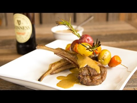 Grilled Lamb Chops With Guinness Stout Cream Sauce on the Memphis Wood Fired Pellet Grill