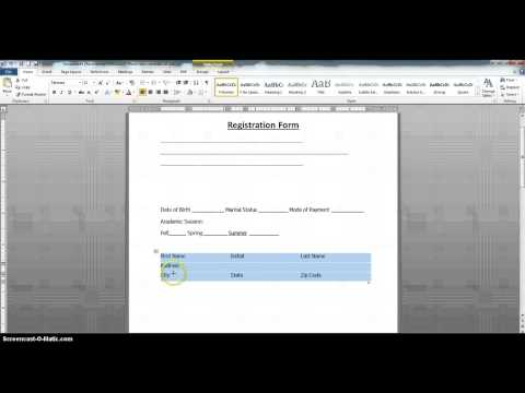 How to Create a Fillable Form Using MS Word 2010 Part 1