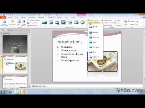 Using picture effects  in powerpoint