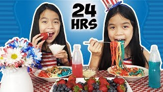 Download We Only Ate RED, WHITE & BLUE Foods For 24 HOURS! Video