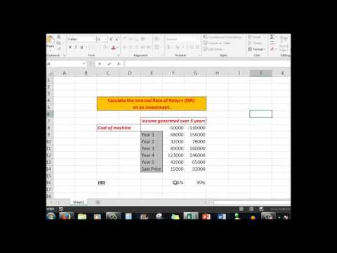 Excel advanced tutorial  Calculating IRR the Internal Rate of Return on an investment