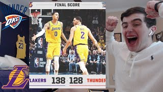 LAKERS BEAT THUNDER!! LONZO AND KUZMA GO OFF IN OT!! PLAYOFF BOUND! HYPE REACTION