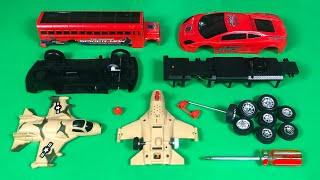 Assemble Red Super Power Bus ,Sports Car and MiG 29 Fighter | Toy Vehicles Attached