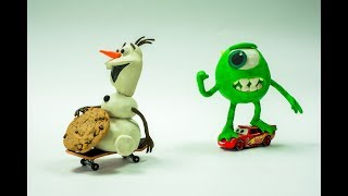 Lightning McQueen & Monsters MIKE chase after Olaf for eating all the Cookies Stop Motion Animation