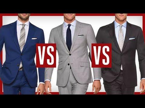 BLUE vs GRAY Suits | Which Suit Is Better?  Charcoal vs Black vs Navy vs Blue