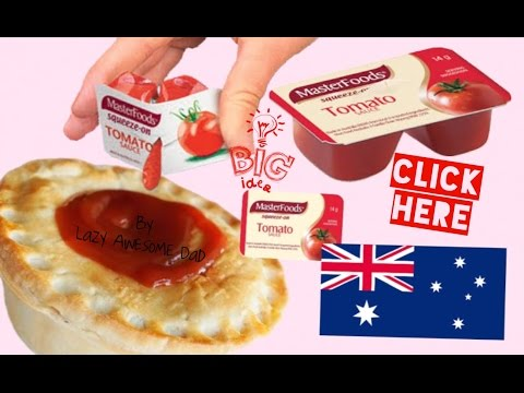 AUSTRALIAN Tomato Sauce / KETCHUP with a bloody GOOD Aussie MEAT Pie NOT KETCHUP Ad