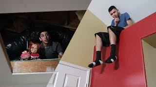 CRAZY HIDE AND SEEK IN OUR HAUNTED HOUSE!!