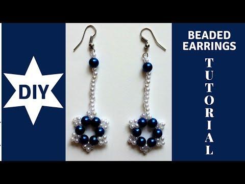 DIY beaded earrings tutorial. How to make earrings with pearl beads