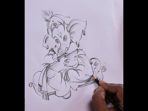 How to draw lord ganesha in easy way