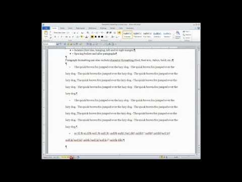 WORD GENERAL:  Paragraph Formatting--First line indent