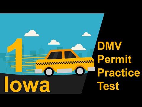 Iowa DMV Permit Practice Test 1  -  2016