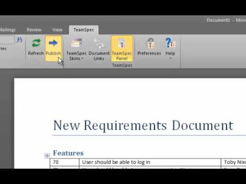 Creating a New Requirements Document using TFS and Word with TeamSpec