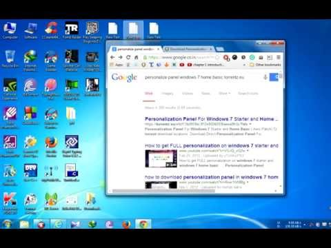 Personalize panel for Windows 7 Home Basic