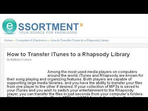 How-To Transfer Between Itunes And Rhapsody Libraries