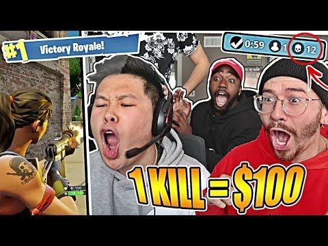 1 KILL = $100 FORTNITE CHALLENGE W/ TEAM ALBOE!! Fortnite: Battle Royale! **HILARIOUS GAMEPLAY**