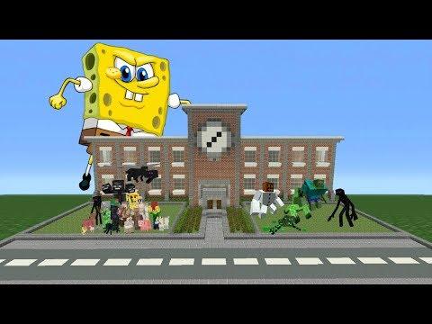 Giant Evil SpongeBob Appears And Destroys Monster School IN MINECRAFT!!