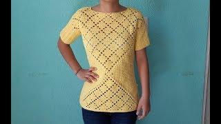 0baf0c460 blusa primavera a crochet - punto de rombos tejidos a ganchillo ...