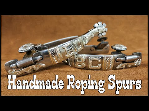 HANDMADE ROPING SPURS by BRUCE CHEANEY - SPUR MAKING - ENGRAVING