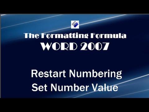 Word 2007   Restart Numbering and Set Number Value