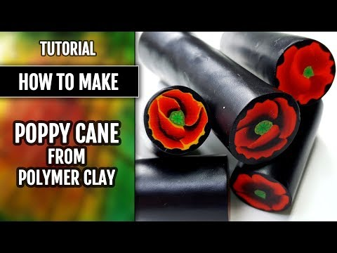 Free TUTORIAL!  How to make POPPY Cane from polymer clay!