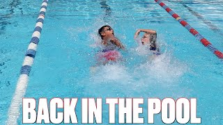 COMPETING IN THE POOL ONCE AGAIN | GOING TO THE POOL FOR THE FIRST TIME | COMPETITIVE SWIM CHALLENGE