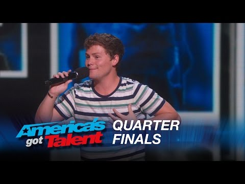 Drew Lynch: Stuttering Comedian Jokes About His Service Dog - America's Got Talent 2015