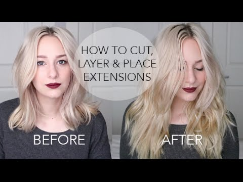 HOW TO CUT & LAYER EXTENSIONS + PLACEMENT for short-medium hair