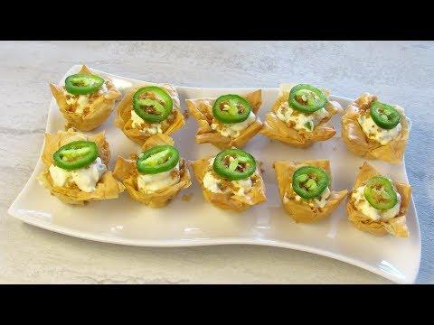 Jalapeno Poppers Mini Phyllo Cups / اكواب عجينة البقلاوة الصغيرة محشية جبنة وفلفل اخضر حار
