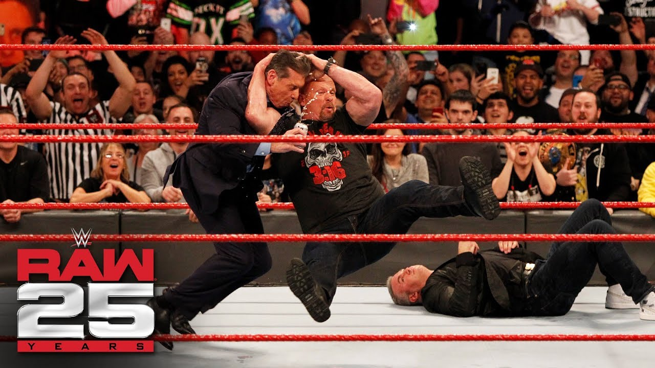"""Stone Cold"" Steve Austin Stuns Shane and Mr. McMahon: Raw 25, Jan. 22, 2018"
