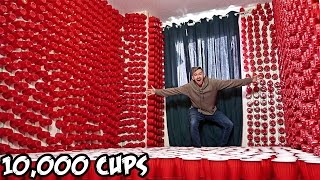 EPIC CUP PRANK ON ROOMMATE!! (10,000 CUPS)