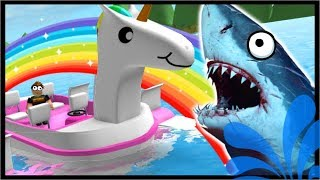 Majestic Unicorn Paddle Boat Vs Shark! | Roblox Sharkbite