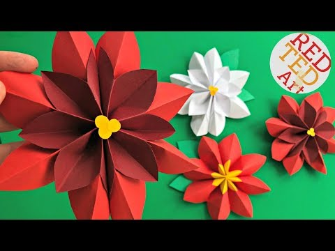 Paper Flower DIY - Easy Poinsettia Decor DIY - DIY Christmas Decor - 3D Paper Room Decor