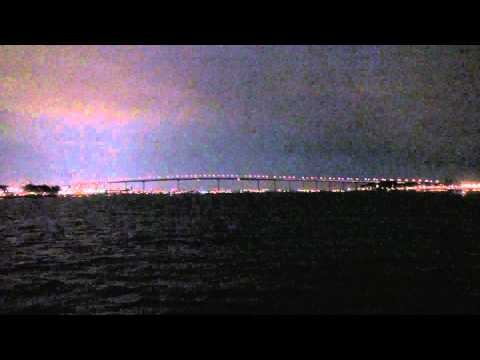 San Diego - Coronado Bridge from Coronado Ferry - Night