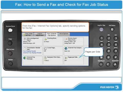 How To Send a Fax and Check for Fax Job Status  - ApeosPort-V & DocuCentre-V Products - English