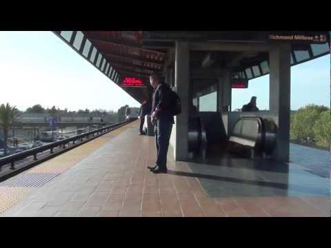Dublin/Pleasanton Train Arriving at Coliseum/Oakland Airport BART (HD)