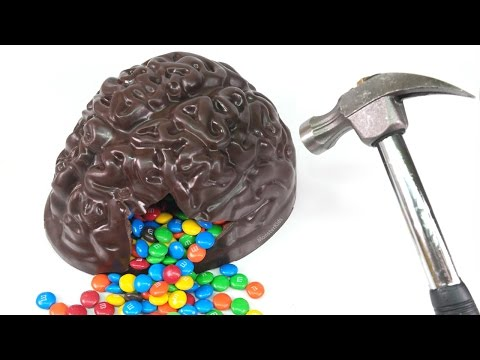 DIY Chocolate Brain Filled with M&M's Candy Fun ! Surprise Kids Candy | MonsterKids