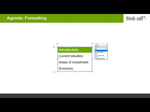 Agenda: Formatting, placement, and agenda splitters (think-cell tutorials)