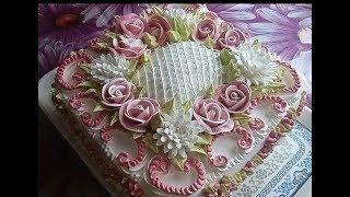"""Торт """"99 цветочков """" Украшение БЗКкремом. Cake """"99 Flowers"""""""