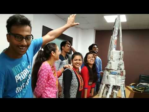 Best team building activity- newspaper tower building by Engineering students