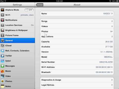 Apple iPad View Device Storage Capacity