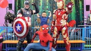 MY SUPERHERO BIRTHDAY! Indoor Kids Playground Fun With Spider Man Captain America Iron Man and CKN