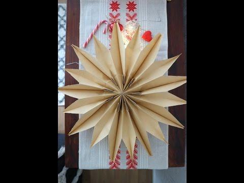 DIY easy and impressive Christmas paper bag stars